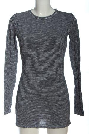 armedangels Lang shirt lichtgrijs-zwart gestreept patroon casual uitstraling
