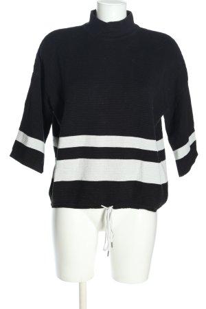 armedangels Maglione dolcevita nero-bianco motivo a righe stile casual