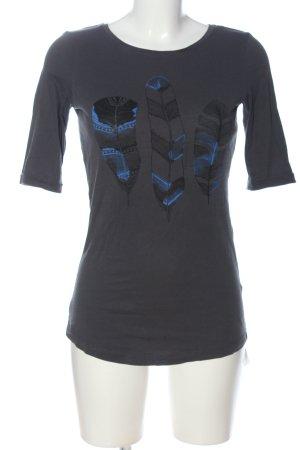 armedangels Schlupf-Bluse schwarz-blau Motivdruck Casual-Look