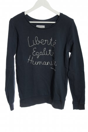 Armedangels Sweatshirt blau-weiß Schriftzug gedruckt Casual-Look