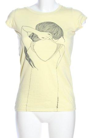 armedangels T-shirt jaune primevère imprimé avec thème style décontracté