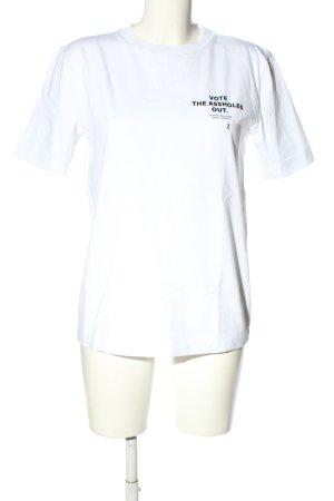 armedangels T-Shirt weiß-schwarz Schriftzug gedruckt Casual-Look
