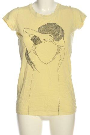 armedangels T-shirt giallo pallido-nero Stampa a tema stile casual