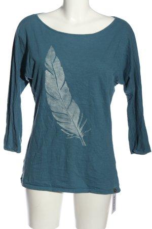 armedangels T-Shirt blau-weiß Motivdruck Casual-Look