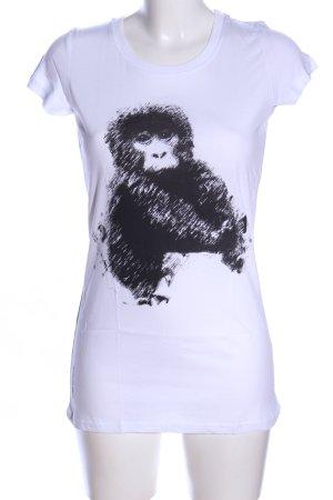 armedangels T-Shirt white-black themed print casual look