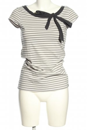 armedangels T-Shirt hellgrau-weiß Streifenmuster Casual-Look