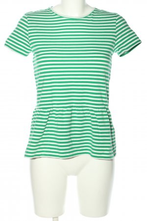 armedangels T-Shirt weiß-grün Streifenmuster Casual-Look