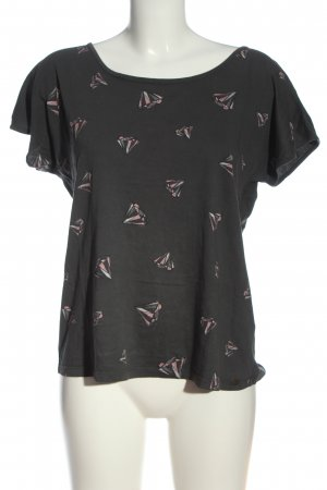 armedangels T-Shirt schwarz-pink Motivdruck Casual-Look