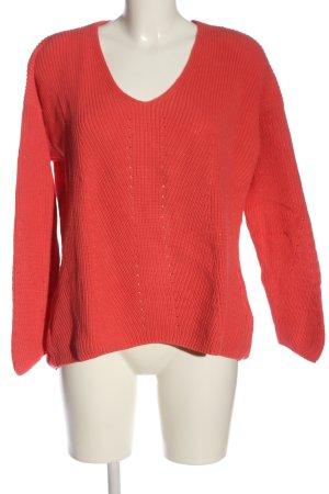 armedangels V-Ausschnitt-Pullover rot Zopfmuster Casual-Look