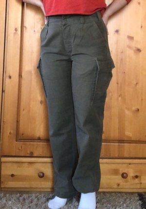 0039 Italy Pantalon cargo kaki-gris vert coton