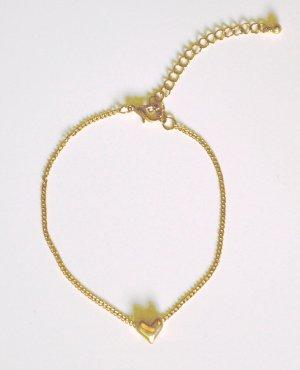 """Armkette oder Fußkette, """"Herz"""", Metall, goldfarben,"""