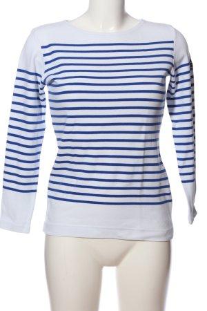 Armor Lux Top à manches longues blanc-bleu motif rayé style décontracté