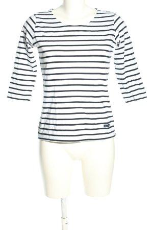 Armor Lux Top à manches longues blanc-noir motif rayé style décontracté