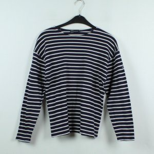 Armor Lux Kraagloze sweater zwart-wit Katoen