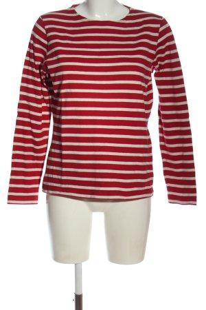 Armor Lux Felpa rosso-bianco sporco motivo a righe stile casual