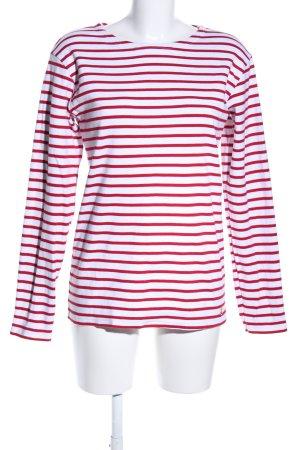 Armor Lux Sweatshirt wit-rood gestreept patroon casual uitstraling