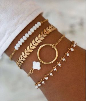 Star style Gouden armband wit-goud