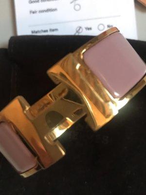 Hermès Bangle goud-stoffig roze