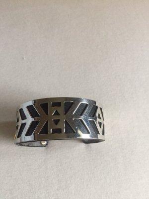Sztywna bransoletka srebrny-czarny