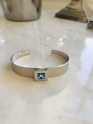 Armreif Silber mit hellblauem Stein