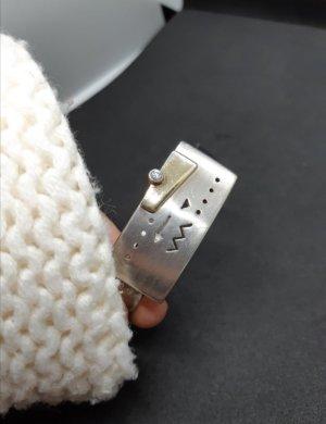 Armreif und Ring Set Silber mit gold Accent