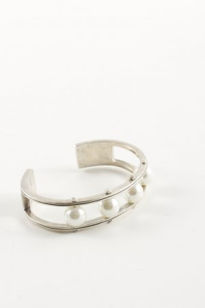 Brazalete color plata-blanco elegante