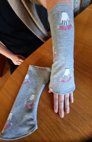 Hand made Jambière gris clair-rose