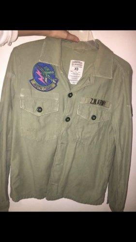Zara Camicia a maniche lunghe grigio-verde-cachi
