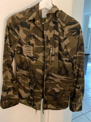 Pull & Bear Chaqueta militar gris verdoso-ocre