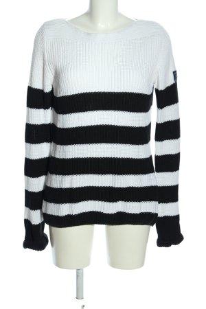 Arqueonautas Grobstrickpullover weiß-schwarz Streifenmuster Casual-Look
