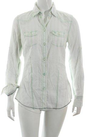 Arqueonautas Langarm-Bluse weiß-blassgrün Streifenmuster Casual-Look