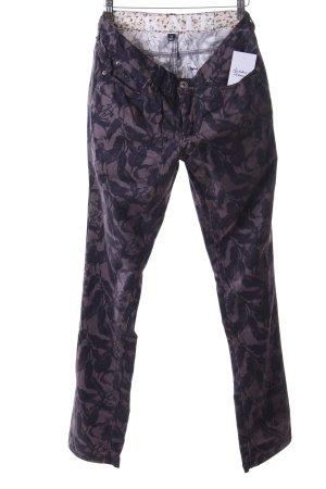 Arqueonautas Slim jeans donkerbruin-zwart bruin bloemen patroon