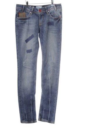 Arqueonautas Slim Jeans stahlblau Used-Optik