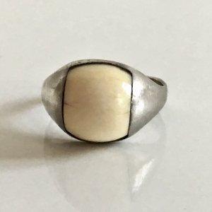 Art Deco Antik 925 Sterling Silber Ring echt Bein Cabochon Silberring