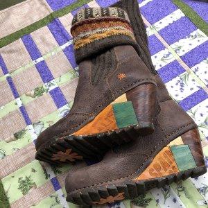 Art Bottine à talon compensé multicolore cuir