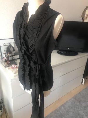 Artigiano Asoni Bluse mit Rüschen in Schwarz aus Poplin