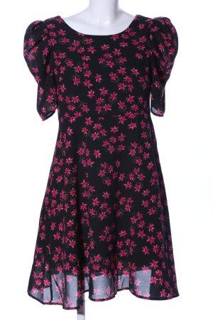 ARTLOVE Paris Chiffonkleid pink-schwarz Blumenmuster Casual-Look
