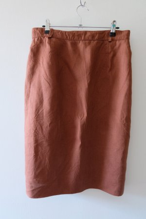 Vintage Linen Skirt brown red