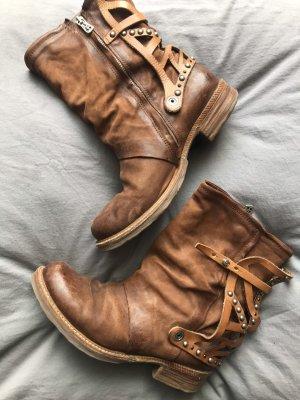 As 98 Leder boots stiefel mit Nieten