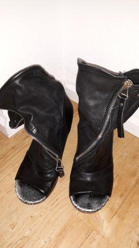 AS98 Sandales à talons hauts et plateforme noir cuir