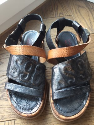 Air Step Outdoor Sandals black-cognac-coloured leather