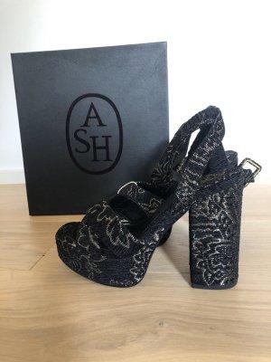 ASH Plateauzool sandalen zwart-goud