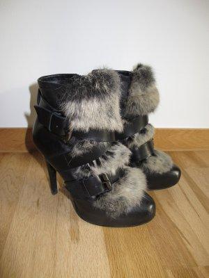 Ash Emma Boots Stiefeletten Pelz Fell Kanninchen 37 Schwarz Winter Booties