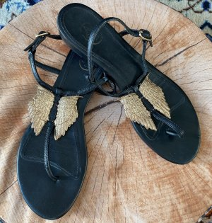 ASH Sandales à talons hauts et lanière noir-doré cuir
