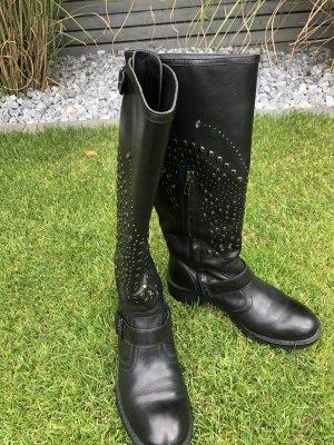 Ash Leder Stiefel schwarz mit Nieten Gr. 36 (36,5)