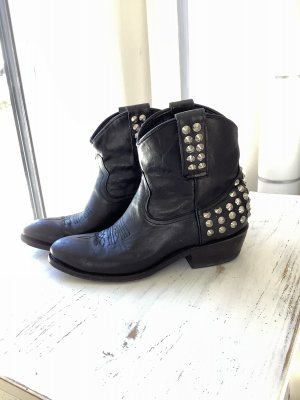 ASH Western Booties black-silver-colored leather