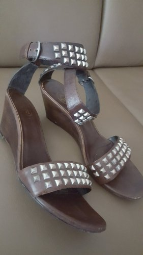 ASH Strapped High-Heeled Sandals silver-colored-dark brown leather