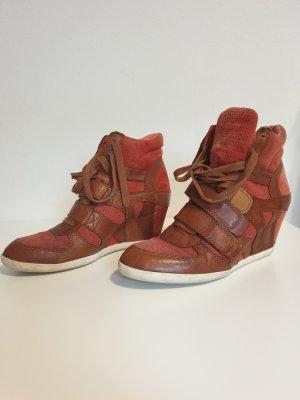 ASH Chaussures à lacets rouge-cognac cuir