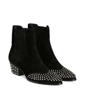 ❤️ ASH Stiefeletten Gr. 37 Schwarz Nieten Leder ❤️