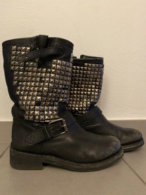 ASH Womens Black Studded Leather Metallic Biker Boots
